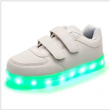 USB充电孔七彩发光闪光魔术贴led男女款儿童板鞋