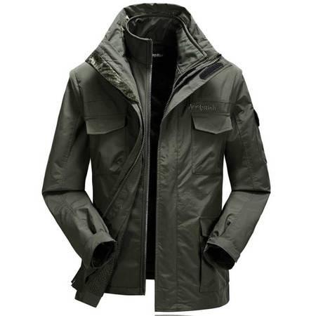 新款户外运动服男式冲锋衣保暖两件套三合一户外服