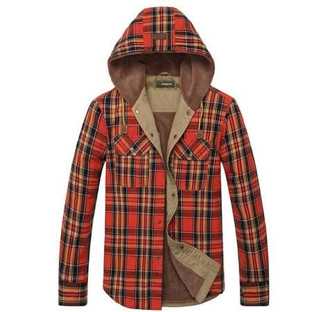 男士秋冬保暖加绒衬衫大码加厚衬衫男装格子连帽长袖衬衣