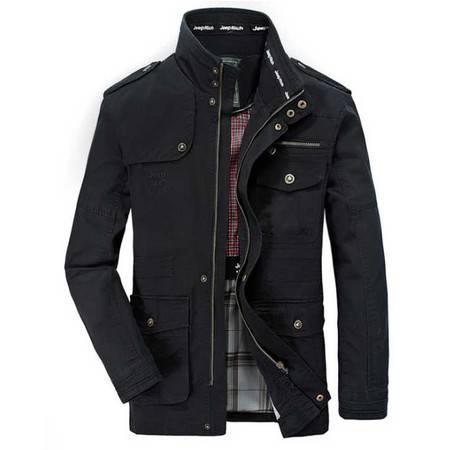 爆款男装夹克中长款纯棉水洗立领男士休闲夹克外套