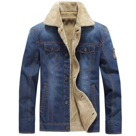 新款男式冬季牛仔夹克男加厚加绒牛仔宽松纯棉外套