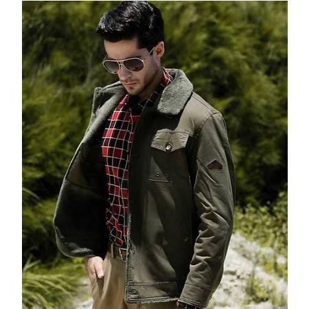 品牌男装新款男式毛领棉服中年男式棉夹克