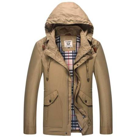 新品夹克 男式休闲夹克 纯棉立领大码连帽夹克外套