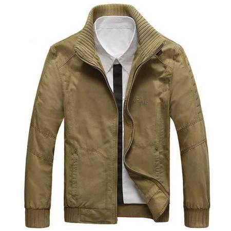 新款 男式全棉夹克 纯色立领休闲男士上衣潮3色任选