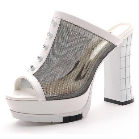 【大促特价】莫蕾蔻蕾 韩版春夏新款凉鞋女高跟鞋网纱透气罗马女士潮鞋子单鞋鱼嘴粗跟时尚女鞋