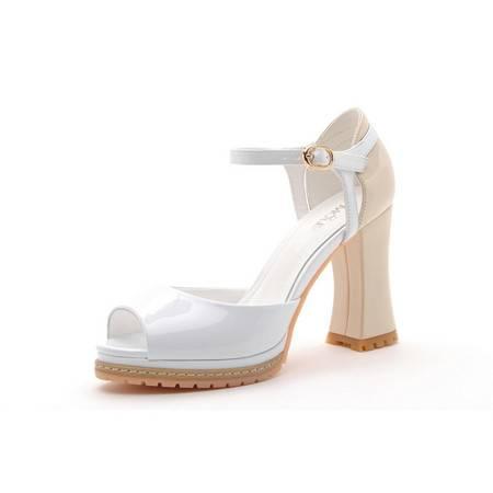 【天天特价】莫蕾蔻蕾 2014夏季新款时尚女鞋凉鞋韩国公主性感粗跟高跟鞋防水台鱼嘴鞋单鞋