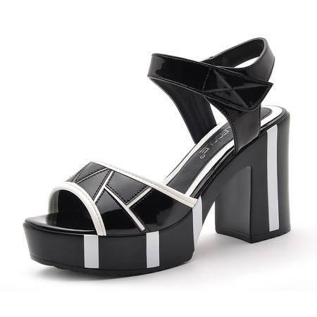 【今日秒杀】莫蕾蔻蕾 夏季欧美时尚女鞋鱼嘴网面凉鞋厚底女鞋子粗跟防水台高跟鞋女凉鞋子单鞋