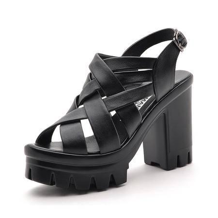 【今日秒杀】莫蕾蔻蕾 2014夏新款时尚女鞋罗马松糕厚底粗跟防水台真皮鱼嘴高跟鞋凉鞋单鞋