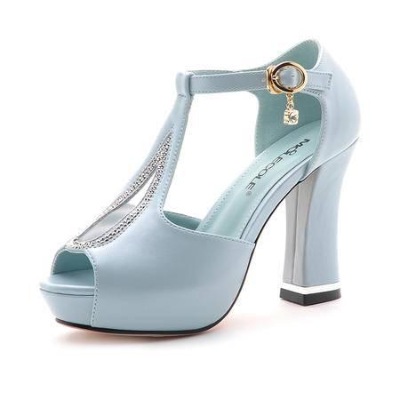 【天天特价】莫蕾蔻蕾 新款夏季罗马鱼嘴凉鞋水钻金属吊坠女士高跟鞋防水台粗跟水钻时尚女鞋子