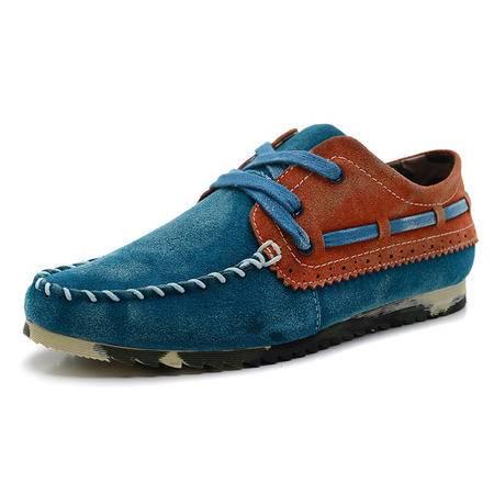 【新款男鞋】BALADY帕莱汀 春夏季韩版流行男鞋英伦休闲鞋豆豆潮鞋流行帆布拼接透气帆船鞋