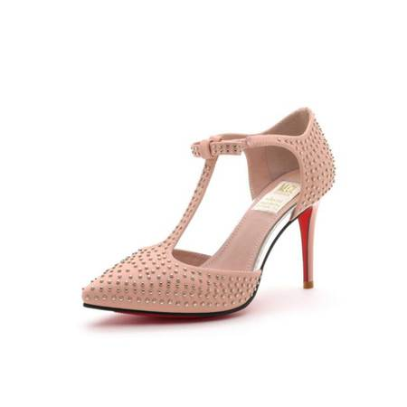 【大促特价】莫蕾蔻蕾 欧美新款 时尚女鞋小辣椒鞋 铆钉尖头高跟鞋罗马搭扣鞋细跟凉鞋女单鞋