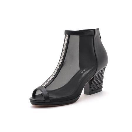 【大促特价】莫蕾蔻蕾 韩版春夏新款凉鞋简约时尚女鞋高跟鞋网纱透气罗马女士潮鞋子鱼嘴粗跟单鞋