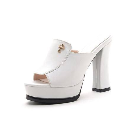 【今日秒杀】莫蕾蔻蕾 夏季韩国防水台鱼嘴松糕凉鞋时尚女鞋女士十字架金属高跟鞋夜店粗跟