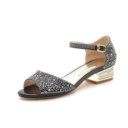 【今日秒杀】莫蕾蔻蕾 2014夏季时尚女真皮女凉鞋高跟鞋粗跟露趾罗马女士凉鞋时尚英伦女鞋子