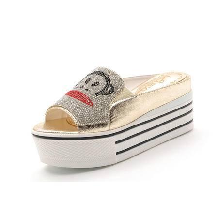 【天天特价】莫蕾蔻蕾14新款时尚女鞋夏季厚底鱼嘴坡跟休闲鞋大嘴猴凉拖鞋松糕底女凉鞋子潮