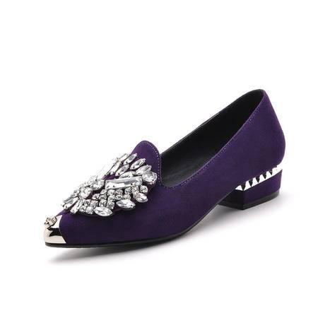 【天天特价】莫蕾蔻蕾 2014夏个性时尚女鞋尖头鞋中跟单鞋粗跟鞋英伦帅气潮鞋子单鞋