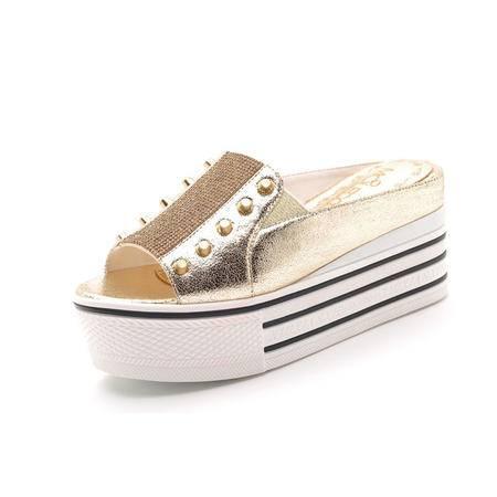 【天天特价】莫蕾蔻蕾 2014新款时尚女鞋欧美明星款防水台粗跟高跟鞋拖鞋女凉拖鞋厚底潮包邮