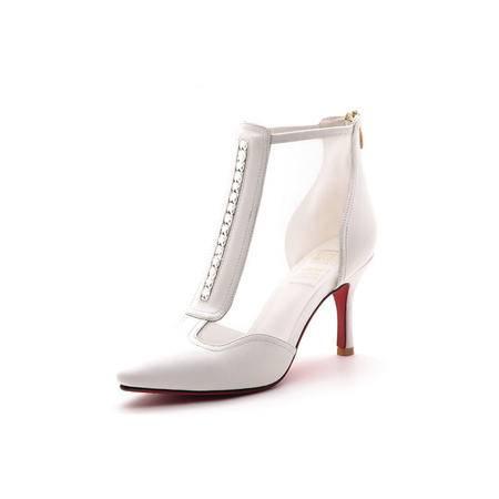 【天天特价】莫蕾蔻蕾 夏季新款欧美时尚女鞋真皮细跟网纱鞋高跟鞋凉鞋璀璨水钻女休闲鞋罗马凉鞋女