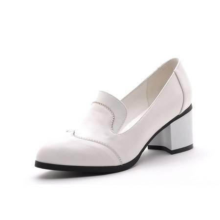 【天天特价】莫蕾蔻蕾 2014夏个性时尚女鞋尖头鞋中跟单鞋粗跟女休闲鞋英伦帅气潮鞋子单鞋