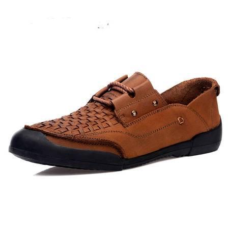 【热卖新款】BALADY帕莱汀夏季男鞋流行男鞋潮鞋夏天手工编织鞋头透气男士休闲鞋单鞋