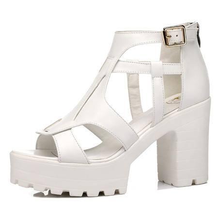 【天天特价】Guci古奇天伦春夏新款粗跟时尚女鞋厚底松糕凉鞋单鞋女鱼嘴高跟鞋