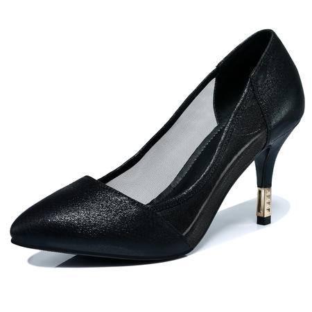 【今日秒杀】Guci古奇天伦春季新款真皮时尚女鞋透气网纱 超高跟鞋细跟尖头浅口单鞋