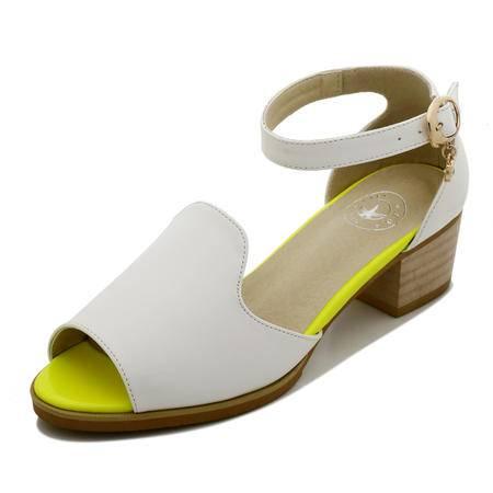 【卖家热荐】Guci古奇天伦夏季新款时装防水台鱼嘴少女凉鞋粗跟高跟鞋水钻拼色搭扣时尚女鞋子