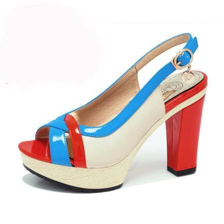 【今日秒杀】Guci古奇天伦坡跟时尚女鞋撞色新款凉鞋粗跟防水台厚底波西米亚高跟鞋松糕女夏