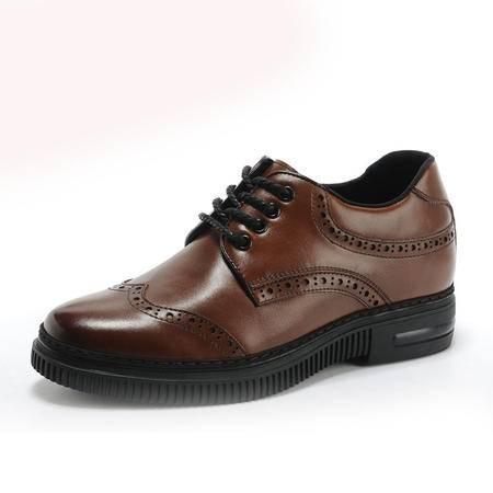 【大促特价】BALADY 帕莱汀商务休闲鞋韩版内增高流行男鞋夏季真皮透气布洛克雕花潮男皮鞋