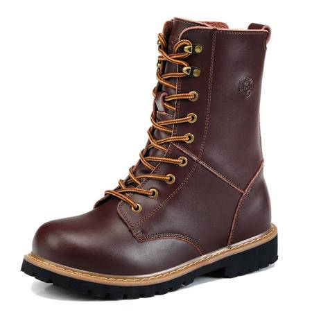BALADY帕莱汀 流行男鞋冬靴男士保暖耐磨真皮工装军靴潮流男靴子长靴高筒皮靴潮流马丁靴