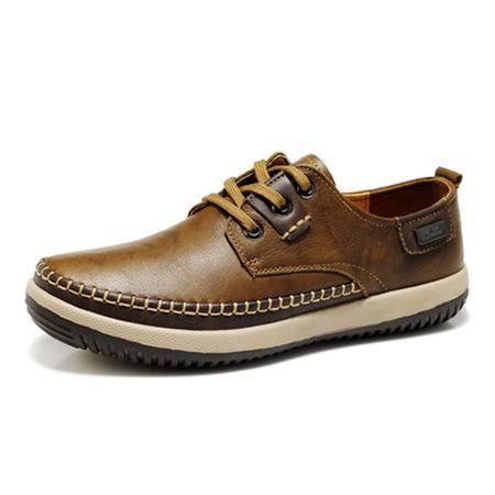 BALADY帕莱汀流行男鞋男士商务休闲鞋秋冬季新款真皮头层牛皮透气系带正装潮流皮鞋