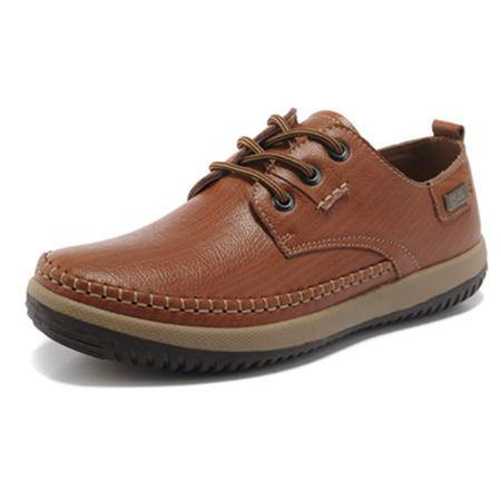 BALADY帕莱汀流行男鞋休闲皮鞋真皮头层牛皮鞋韩版系带日常商务休闲鞋单鞋低帮男鞋子