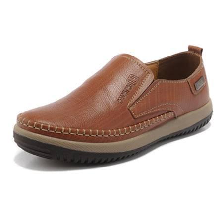 BALADY帕莱汀流行男鞋懒人皮鞋新款商务休闲鞋真皮头层牛皮低帮鞋经典套脚单鞋