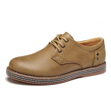 BALADY帕莱汀流行男鞋新款头层牛皮透气真皮皮鞋商务休闲鞋男单鞋系带低帮男皮鞋