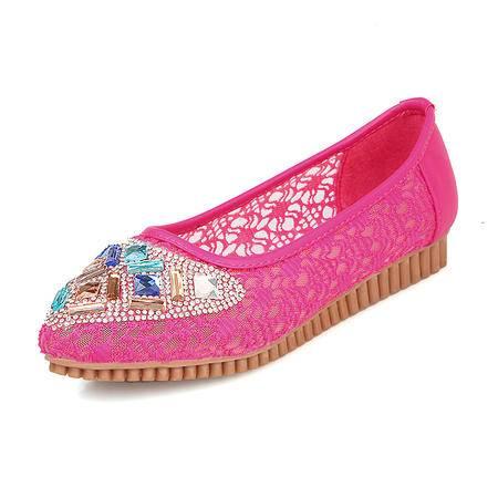 BALADY帕莱汀新款糖果色豆豆鞋女平跟套脚单鞋水钻优质蕾丝平底浅口休闲鞋开车船鞋时尚女鞋