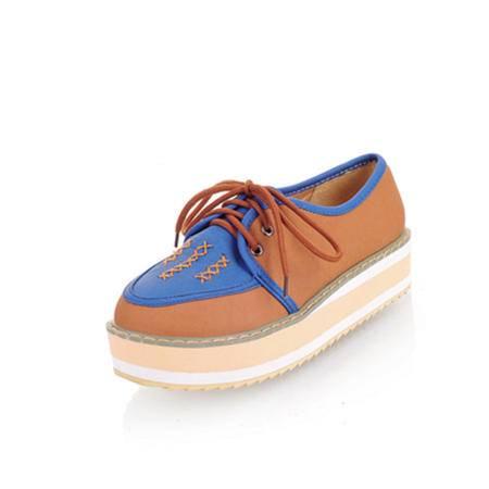 BALADY帕莱汀秋季新款时尚女鞋厚底复古英伦风松糕单鞋潮防水台潮流色拼休闲鞋