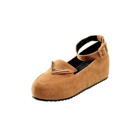 BALADY帕莱汀秋季新款时尚女鞋英伦豆豆鞋韩版甜美公主鞋厚底鞋复古松糕鞋内增高鞋潮流单鞋