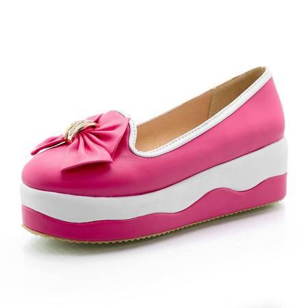 BALADY帕莱汀时尚女鞋一脚蹬套脚懒人鞋女韩版厚底平跟浅口帆布鞋蝴蝶结低帮套脚女鞋单