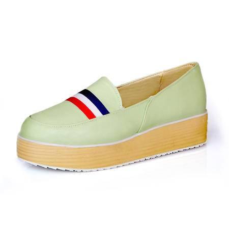 BALADY帕莱汀时尚女鞋新款松糕鞋 韩版厚底浅口海军条纹休闲女鞋透气平底鞋坡跟套脚秋单鞋