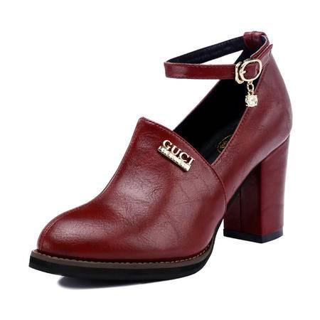 Guci古奇天伦 秋冬时尚女鞋高跟短靴粗跟女靴真皮裸靴骑士马丁靴及踝靴潮流单靴