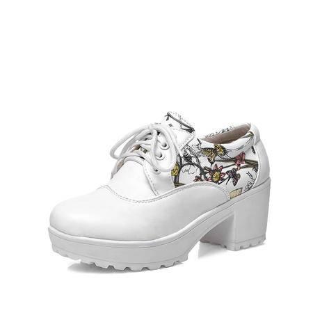 BALADY帕莱汀新款时尚女鞋韩版低帮特色图腾厚底中跟单鞋系带粗跟透气坡跟休闲鞋真皮