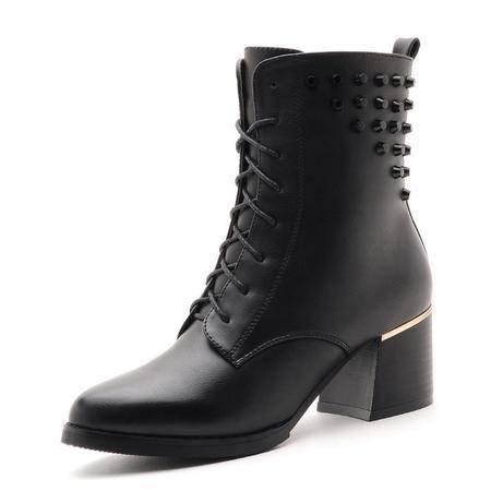 莫蕾蔻蕾 秋冬时尚女鞋女短靴铆钉优雅侧拉链英伦马丁靴保暖尖头女高跟粗跟女靴系带单靴