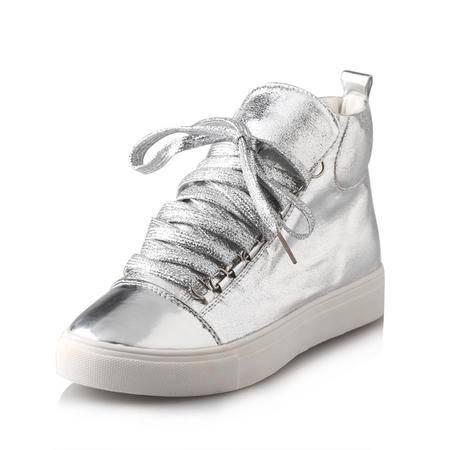 BALADY帕莱汀 高帮时尚女鞋学生鞋经典韩版潮学院甜美系带休闲平底球鞋透气真皮系带休闲鞋