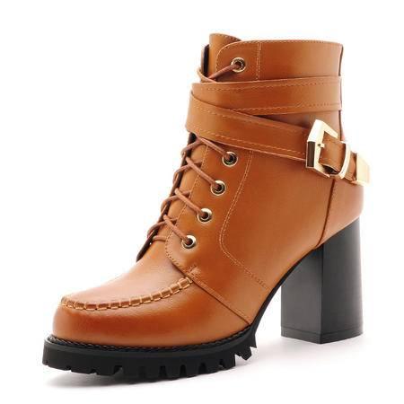 莫蕾蔻蕾 秋冬新款时尚女鞋子雪地短靴机车靴圆头系带粗跟女靴子英伦搭扣马丁靴女英伦单靴