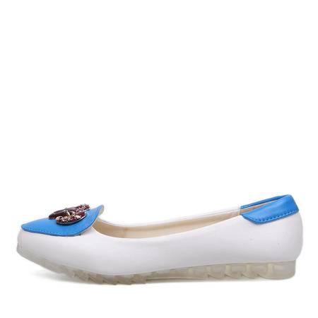 BALADY帕莱汀 欧美范简单金属百搭方头舒适休闲鞋大码平底平跟单鞋豆豆鞋时尚女鞋