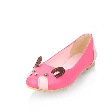BALADY帕莱汀新款时尚女鞋韩版豆豆鞋透气可爱长耳朵兔子秀气公主单鞋一脚蹬套脚休闲鞋懒人