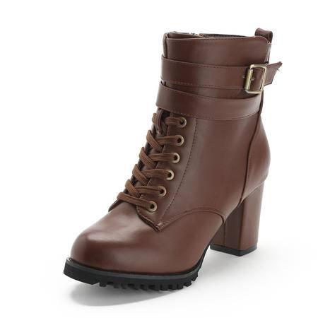 BALADY帕莱汀 秋冬新款时尚女鞋马丁靴女欧美短筒靴粗跟及裸靴真皮搭扣女靴休闲女鞋