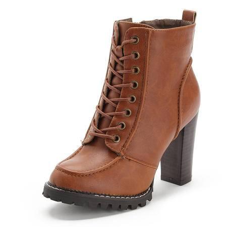BALADY帕莱汀 秋冬款时尚女鞋欧美短靴真皮粗跟马丁靴侧拉链中跟骑士靴韩版休闲女靴