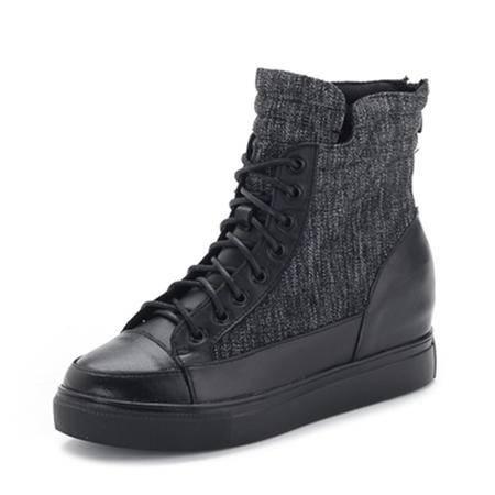 BALADY帕莱汀 真皮短靴女新款时尚女鞋女士平底马丁靴短靴春秋冬短筒女靴英伦复古女靴