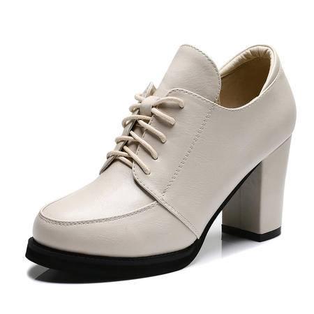 古奇天伦 秋冬季时尚女鞋高跟鞋女粗跟舒适单鞋休闲鞋子英伦潮流霸气裸靴防水台鞋子
